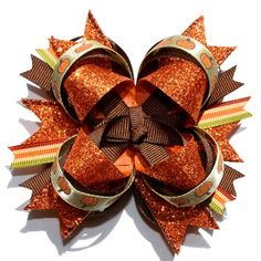 """10% off by liking Lebelle Boutique on Facebook...4"""" Autumn Pumpkins Glitter Stacked Hair Bow..Fall Thanksgiving Orange Brown"""
