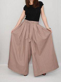 Brown womens linen pants  Brown linen palazzo pants  Taupe brown skirt pants #womensfashionedgyblazers
