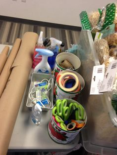 More basking supplies-scissors, tape, glue gun, cleaning products and twine.