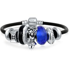 Bling Jewelry Go Team Bracelet ($70) ❤ liked on Polyvore featuring jewelry, bracelets, black, charm-bracelets, beaded jewelry, silver jewelry, silver charm bracelet, black bead bracelet and charm bracelet