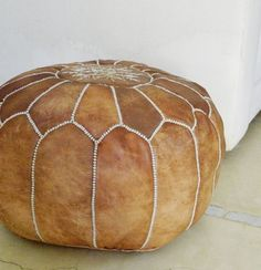 Brown Moroccan Leather Pouf Pouffe by MaisonMarrakech on Etsy