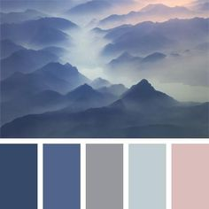 color of fog in mountains, color of morning mist, color of sunrise, color scheme…This color combination will appeal to the fans of pastel tones. This palette should be applied in decoration of a bedroom, as well as will do for girls witColor inspir Paint Color Schemes, Blue Color Schemes, Bedroom Color Schemes, Bedroom Colors, Paint Colors, Blue Color Combinations, Popular Color Schemes, Pastel Shades, Pastel Colors