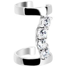 925 Silver Clear CZ Curved Double Ear Cuff #bodycandy #cartilage #cuff