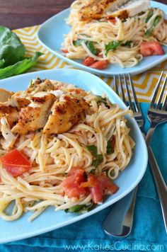 Lemon Bruschetta Pasta With Grilled Chicken - olive oil - McCormick Grill Mates Roasted Garlic and Herb seasoning - unsalted butter - 2 garlic cloves  Diced Roma tomatoes - lemon - spaghetti - basil leaves   - Katie's Cucina