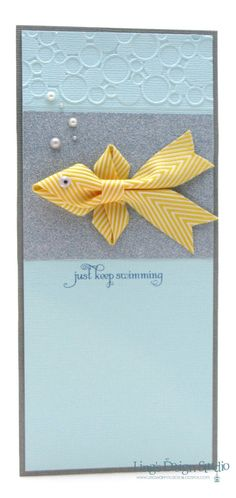 handmade card with dimensions … clever ribbon fish … like how pearl bubbles move on up to embossed circles … handmade card with dimensions … clever ribbon fish… Tarjetas Stampin Up, Stampin Up Cards, Ribbon Cards, Get Well Cards, Animal Cards, Kids Cards, Cute Cards, Creative Cards, Card Tags