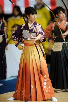 Kyudo bowmanship. Japan