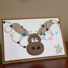 Miss Pinks Craft Spot: Punch Art Moose with Merry Monday Christmas Cards To Make, Holiday Cards, Christmas Crafts, Christmas Moose, Christmas Lights, Origami, Punch Art Cards, Paper Punch, Pink Crafts