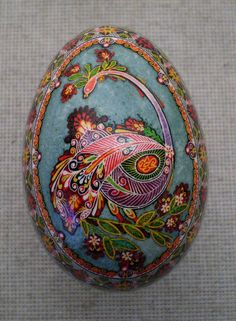 Goose Easter egg with painted Peacock by Oleh K.