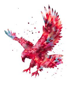 Eagle print red aqua eagle print bold eagle art by FluidDiamondArt Adler Silhouette, Bird Silhouette Art, Eagle Painting, Painting Prints, Art Prints, Watercolor Print, Watercolor Paintings, Art Paintings, Watercolor Trees