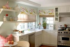 House of Turquoise: Bonesteel Trout Hall. love the airy feel of this kitchen and the fabric used on windows/ love the window treatments Cute Kitchen, Little Kitchen, New Kitchen, Kitchen Dining, Kitchen Decor, Kitchen White, Happy Kitchen, Kitchen Ideas, Pastel Kitchen