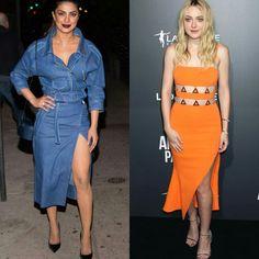 Mais dois looks lindíssimos com cores e estampas lindas, da #carolinaherrera, na Priyanka Chopra. E do #davidkoma, na Dakota Fannig.💙🍂🍊 #priyankachopra #dakotafanning #fashionstyles #35yearsfashionbookparty #americanpastoralpremiere