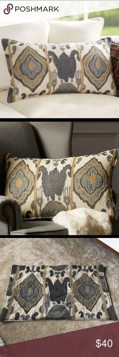 Pottery Barn chiara ikat lumbar pillow Pottery Barn brand new without tags chiara ikat lumbar pillow! 16 X 26 inches. Insert sold separately and button closure in back. Still on PB website sold out. Pottery Barn Other