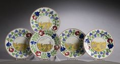 Five Stick Spatter Plates with Rabbits and Frogs, - Cowan's Auctions