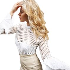 b43c19a7d9874 ArtSu Sexy White Mesh Blouse Hollow Out Shirt Women Transparent Top Autumn Blouses  Long Flare Sleeve 2017 Blusas