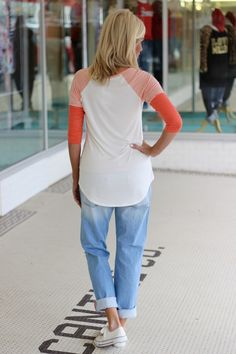 One Faith Boutique - All About That Base Striped Raglan Tee ~ Coral , $35.00 (http://www.onefaithboutique.com/new-arrivals/all-about-that-base-striped-raglan-tee-coral/)