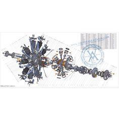 Exploded radial engine