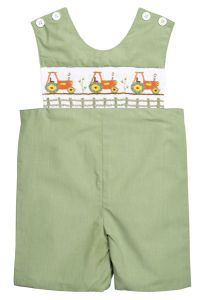 Maybe my husband won't mind the smocking as long as it's got tractors on it!