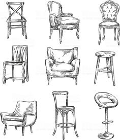 Set of Hand Drawn Chairs - Skizzieren - Chair Design Croquis Architecture, Interior Architecture Drawing, Drawing Interior, Interior Design Sketches, Chair Drawing, Design Living Room, Vintage Design, How To Draw Hands, Bar Chairs