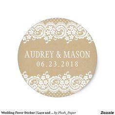 Wedding Favour Sticker | Lace and Kraft