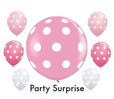 Pink Balloons Polka Dots Girl Party Baby Shower by PartySurprise