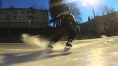 Ice hockey stop slow motion