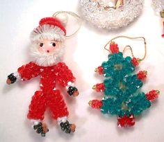 Vintage Handmade Crystal Bead Ornaments Santa Tree