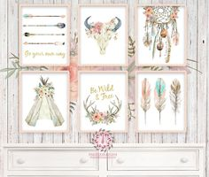 Boho Nursery Print Wall Art Set of 6 Teepee Antlers Dreamcatcher Feathers Wild Free Arrow Watercolor Gold Floral Baby Girl Room Prints Printable Print Bohemian Decor Print