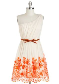 Going Acoustic Dress - Cream, Orange, Bows, Embroidery, Daytime Party, A-line, One Shoulder, Belted, Neon, Graduation