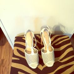 "Chunky white Platform Perforated faux leather with a cork heel.Heel height 5"",3"" platform Jessica Simpson Shoes Platforms"