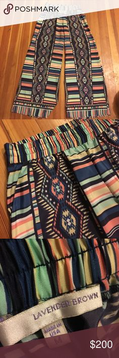 Palazzo pants Printed wide leg palazzo pants lavender brown Pants Wide Leg