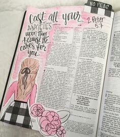 1 Peter 5:7 bible journaling #illustratedfaith #biblejournal #biblejournaling
