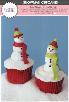 Let it snow with a tutorial on these adorable snowman cupcakes!