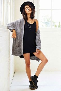 Get your trendy hipster look on with chunky shoes, a baggy cardigan and a fedora! Great style!