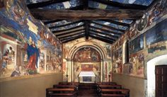 View of the Oratorio Suardi (toward the altar) - Lorenzo Lotto.  1523-24.  Fresco.  Oratorio Suardi, Trescore, Italy.