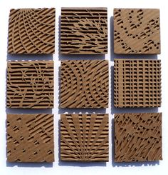 cardboard relief. Carve cardboard to use as stamps.