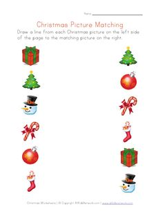 Christmas Pictures Matching Worksheet - Pinned by @PediaStaff – Please visit http://ht.ly/63sNt for all (hundreds of) our pediatric therapy pins