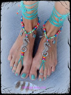 Silver Ankle Bracelet, Ankle Bracelets, Green Beach, Fashion Slippers, Ocean Jewelry, Barefoot Shoes, Beaded Anklets, Shoe Art, Bare Foot Sandals