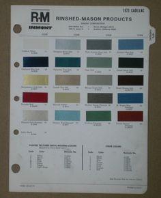 1973 Cadillac Paint Chips Deville Eldorado R M Rinshed Mason Color Chart Ebay