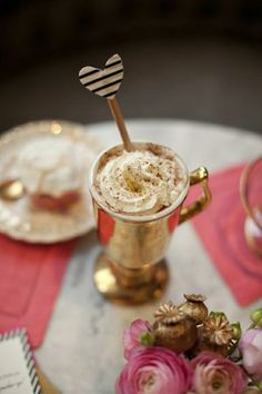 """hot chocolate in gold mug."""