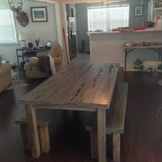 Pecky Table And Bench! by Lisa and Eric Bidwell