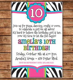 Girl Tween Zebra Animal Print Sleepover Dance Party Birthday - DIGITAL FILE