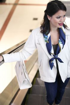 How to Wear: Hermes Silk Scarf #LinhsStyle More: http://designerswap.ca/outfit-of-the-day-featuring-the-hermes-silk-scarf/
