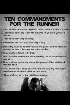 10 commandments of running