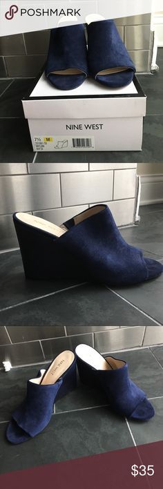 """Nine West Navy suede wedge Nine West Navy suede wedge Style: Felana Height: 3.5"""" Wore once to a wedding Nine West Shoes Wedges"""