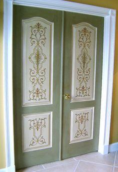 Mal Dørene Og Bru Stensil Trykk Oppå. Regular Masonite Doors With Stencil  Embellishment.