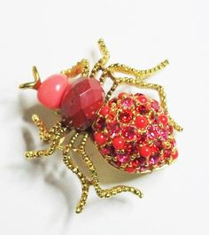 Joan Rivers Spider Pin in Shades of Red and by SCLadyDiJewelry