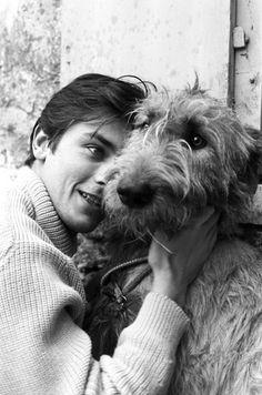 Alain Delon and dog