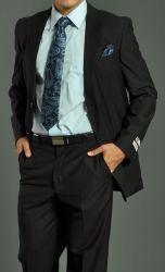 Men's Two Button Fellini Solid Black Suit