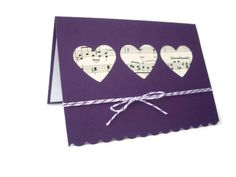 heart punch card  music notes