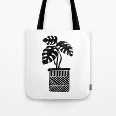 Linocut cheese plant monstera tropical leaf lino print black and white illustration art home dorm Tote Bag by Monoo | Society6